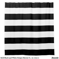 Bold Black and White Stripes Shower Curtain