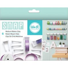 We R Memory Keepers-Snap Storage Ribbon Clips: Medium. Organize your crafting supplies in style! Clips snap on and off the mounting bar (sold separately) for easy access. This package contains six medium plastic clips that fit ribbon measuring between 3/4 and 1- 1/4 inches wide (ribbon sold separately). Imported.