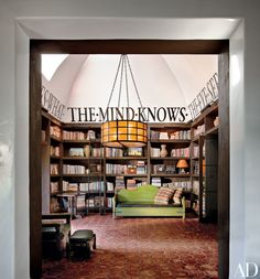 Diane Keaton's library featured in Architectural Digest – how to do it at your place by rebecca elisabeth design. Never quite sure about big script on the wall in a private home. Home Library Design, Dream Library, House Design, Library Room, Future Library, Library Ideas, Beautiful Library, Cozy Library, Library Inspiration