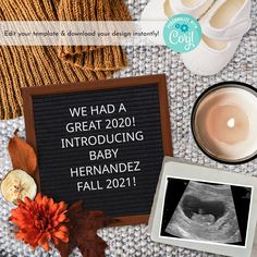 Fall Leaves and Flowers Digital Pregnancy Announcement for Social Media, Thanksgiving Baby Reveal