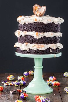 The mother of all leftover Easter candy recipes: Cadbury Creme Egg Cake. Whoa! And, hey, if you don't want to make the whole thing, just make the Creme Egg frosting for a pan of brownies | Liv for Cake