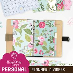Spring planner dividers PINK & BLUE FLOWERS by StrawberryScraps