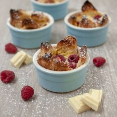 These raspberry and white chocolate bread puddings are everything a pudding should be. Creamy, sweet & fresh!