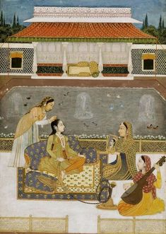Mughal Princess at her toilette (Vilaval Ragini) ca. 1740 India. BnF  https://translate.google.com/translate?hl=en&sl=fr&u=http://expositions.bnf.fr/inde/expo/salle1/07.htm&prev=search