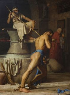 Carl Heinrich Bloch (Danish: 1834-1890) - Samson and the Philistines (Samson in the Threadmill) (1863)