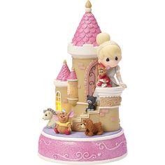 "Precious Moments ""Cinderella Castle"" Resin Music Box, LED Lights Figurine"
