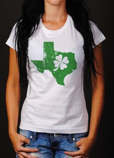 Show your love for your home state with pride! The Shamrock State tees are made from ringspun cotton, unisex tee with a distressed version of your home state screen printed on the front in a fun St. St Patrick's Day Outfit, Outfit Of The Day, St Pattys, St Patricks Day, St Patrick Day Shirts, Vinyl Shirts, Outfits For Teens, Nice Dresses, Shirt Designs