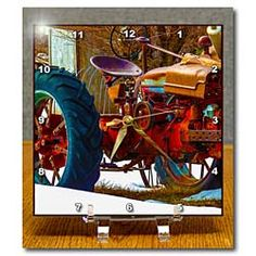 A red tractor on a piece of property in Pine Valley Utah Desk Clock