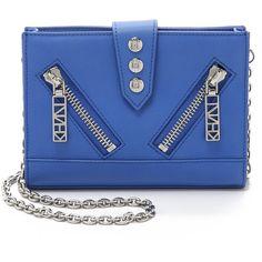 KENZO Kalifornia Cross Body Bag ($315) ❤ liked on Polyvore featuring bags, handbags, shoulder bags, royal blue, crossbody purse, leather crossbody handbags, genuine leather shoulder bag, blue leather purse and genuine leather handbags