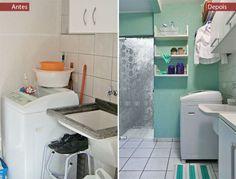Lavanderia de 5 m² em Curitiba é renovada desde a parede até as torneiras