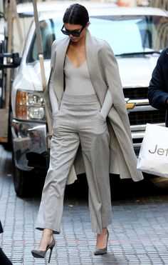 Kendall Jenner looked stunning in an all gray ensemble.