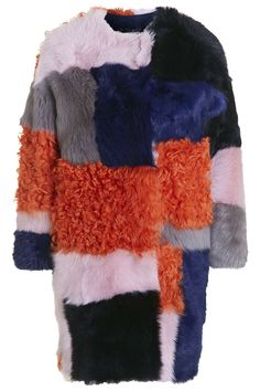 **Premium Patchwork Sheepskin Coat - Topshop