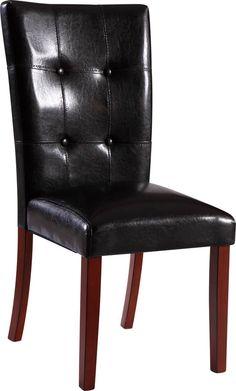 2 (D3861 Series) Black Oak PU Dining Chairs