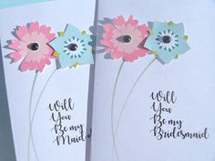 Will You Be My Bridesmaid Card Maid of Honor Card Flower