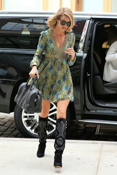 Rosie Huntington-Whiteley.. Saint Laurent Peacock Feather Printed Lame Dress, and Isabel Marant Becky Over the Knee Boots..