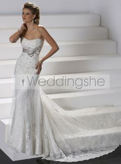 Spectacular Sheath/Column Chapel Train Lace Wedding Dress(Free Shipping)