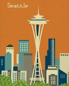 Seattle Washington Skyline style E8OSE1 orange by loosepetals