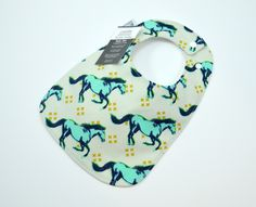 Baby bib, Gender Neutral Baby, Horse, Stallion, Mustang,  100% cotton, triple layered, fits 3 mths to 2 years plus by TextileTrolley on Etsy