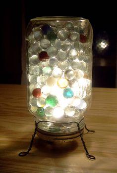 the Lucky Dumpster: lamps & lights / glazen pot en knikkers