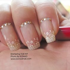 Friendly Nail Art Community with Nail Art Picture and Video Tutorials. Make your nails look awesome and share your nail art designs! Nail Art Designs, Bridal Nails Designs, Wedding Day Nails, Wedding Nails Design, Wedding Manicure, Wedding Designs, Lace Nail Art, Lace Nails, French Nails