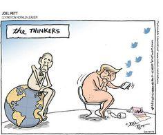 JOEL PETT (2017-07-12) USA : Donald Trump,  Barack Obama,  environment  ÷÷  Source: Lexington Herald-Leader Keywords: COLOR THINKERS OBAMA TRUMP TWEETS CLIMATE ENVIRONMENT RODIN 071217 Provider: CartoonArts International / The New York Times Syndicate
