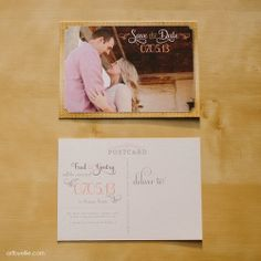 Custom save-the-date: Postcard, rustic-theme, pink, and vintage, with photo.