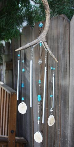 23 Deer Antler Windchime With Turquois Blue by RockingchairChimes