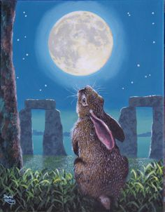 •§♥§• Even the bunny knows it's mystical. Full moon over Stonehenge.