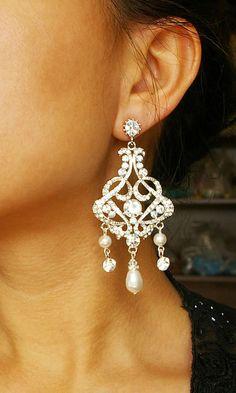 GOLD Chandelier Earrings Statement by luxedeluxe,