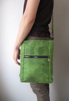 Waxed Canvas Bag Mens Crossbody Bag Shoulder Bag Waxed by Lupiko