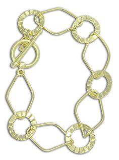 Pulseira especial folheada a ouro c/ elos longos de fio e chapa Código: P254