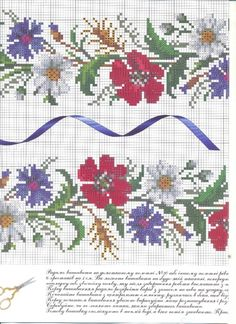 This Pin was discovered by Ewa Mini Cross Stitch, Cross Stitch Borders, Cross Stitch Flowers, Cross Stitch Charts, Cross Stitch Patterns, Embroidery Patterns Free, Beading Patterns, Cross Stitch Embroidery, Hand Embroidery