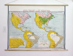 Hanging Map DIY {followed this tutorial and did it with inexpensive world and US maps from Costco}