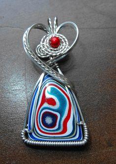 Handmade Wire Wrapped Top Grade Stunner Original Detroit Fordite Pendant in Argentium Silver