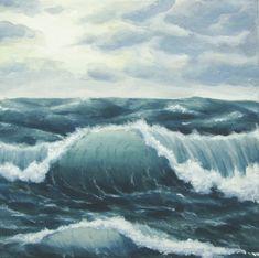 "Ocean Art, Original Choppy Seas Painting, Stormy Ocean Painting, Seascape Fine Art, Rough Seas, Ocean Waves Fine Art, Acrylic, 10"" X 10"". $60.00, via Etsy."