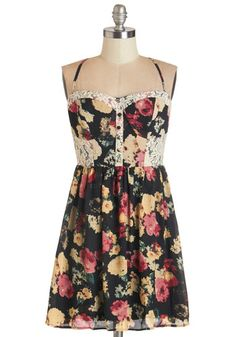Fun and Card Games Dress. Let the bright rays warm your shoulders in this strappy floral sundress as you spend the afternoon playing hearts outside with your pals! #gold #prom #modcloth