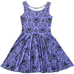 Haunted Mansion Inspired Skater Dress ($50) ❤ liked on Polyvore featuring dresses, silver, women's clothing, blue checked dress, skater dresses, over the knee dresses, blue checkered dress and checked dress