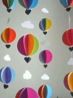 Tinker mobile yourself - creative craft ideas for a great baby mobile - DIY Bas. - Tinker mobile yourself – creative craft ideas for a great baby mobile – DIY Basteln mit Papier - Balloon Clouds, Hot Air Balloon, Balloons, Balloon Garland, Paper Clouds, 3d Clouds, Paper Balloon, Baby Balloon, Air Ballon