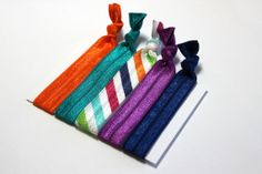 Set of 5 Striped Hair Ties Ponytail Holders FOE Hair by ElenasBows, $5.00 #hair, #hairties, #ponytailholder, #hairbands, #striped, #stripes #elenasbows, #purple, #teal, #orange, #blue
