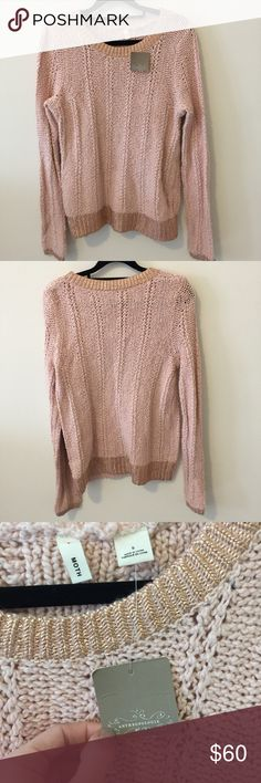 NWT Anthropologie Moth Pink Metallic Sweater Super cute and new with tags - Anthropologie sweater by Moth in a soft pink Knit with Metallic bottom hem and sleeve ends. Not lined but is super soft and comes with extra yarn- fabric content is in photos and is a size small!! Anthropologie Sweaters