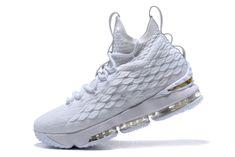 07281c848e5 Official Nike LeBron 15 White Metallic Gold Mens Basketball Shoes Logo  Basketball