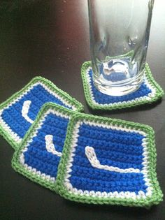 Are you a Canucks fan? I know I am, and a lot of my friends are as well. I made these for my friends birthday and all my friends totally lov. Crochet For Boys, Love Crochet, Crochet Gifts, Learn To Crochet, Knit Crochet, Vancouver Canucks, Nascar, Nhl, Crochet Beard