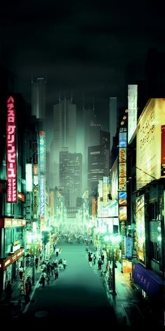 "Concept art for a film adaptation of William Gibson's ""Neuromancer"":"
