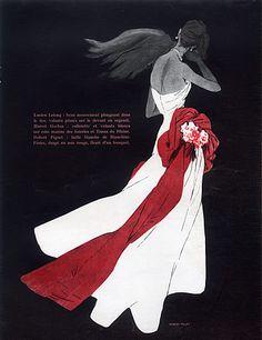 Robert Piguet 1948 René Gruau, Strapless Dress