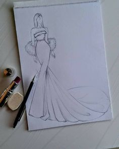 Dress Design Drawing, Dress Design Sketches, Fashion Design Sketchbook, Art Drawings Sketches Simple, Fashion Design Drawings, Fashion Model Sketch, Fashion Sketches, Fashion Illustration Tutorial, Fashion Drawing Tutorial
