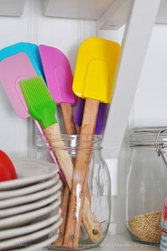 I love the ice cream colors of these spatulas.  So cheerful.