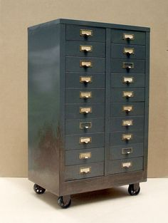 Vintage Industrial Metal 20 Drawer Cabinet with Steel Casters / Gray / Storage Organization / Distressed Rusty / Studio Supplies Storage