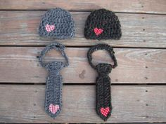 CROHETED  chunky hat and necktie,baby boy set first valentine newborn outfit coming home outfit by Etvy on Etsy
