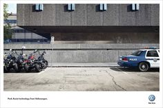 The Print Ad titled Bikers / Police was done by DDB Sydney advertising agency for product: Park Assist technology (brand: Volkswagen) in Australia. Print Advertising, Creative Advertising, Advertising Agency, Print Ads, Cannes, Funny Commercials, Funny Ads, Grand Prix, Lions International