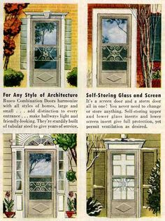 """20 interiors from 1952: The end of the 1940s --- Retro Renovation.   """"old-fashioned """"mill finish"""" screen doors."""" Definitely backward-looking rather than modern styles."""